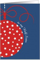 to my Half Sister, Merry Christmas Card, red, white & blue,stars card
