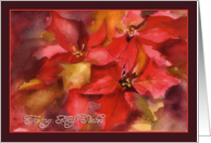 Christmas Card to my Half Sister, Poinsettias, watercolor card
