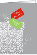 Christmas card for Half Sister, gift, snowflakes, elegant card