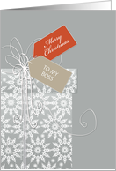 Business Christmas card for Boss, gift, snowflakes, elegant card