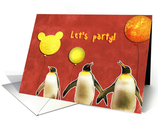 let's party, teenager birthday party invitation, penguins,... (891157)