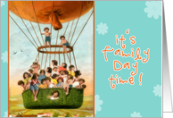 Invitation family day time, vintage hot air balloon, children card