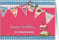 to my secretary, happy birthday, bunting & cupcakes card