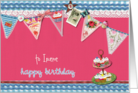 custom personalized birthday card, bunting & cupcakes, blue & magenta card