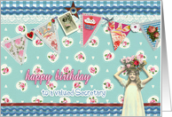 to my secretary, birthday card, bunting & roses, vintage girl card