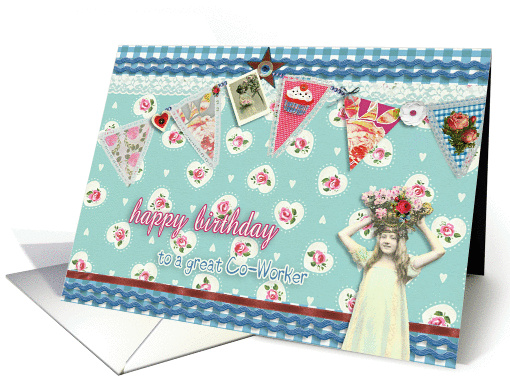 to a great co-worker, birthday card, bunting & roses,... (926592)