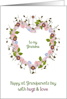 to my grandma, happy first grandparents day, floral heart card