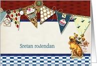happy birthday in Croatian, bunting, cupcake, scrapbook style card