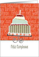 Feliz cumpleaños, happy birthday in Spanish, cake & candle card