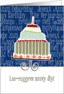 Laa-ruggyree sonney dhyt, happy birthday in Manx, cake & candle card