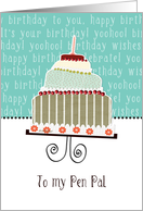 to my pen pal, happy birthday, cake & candle card
