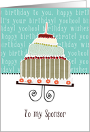 to my sponsor, happy birthday, cake & candle card