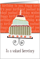 to a valued secretary, business happy birthday card, cake & candle card