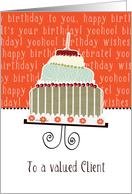 to a valued client, business happy birthday card, cake & candle card
