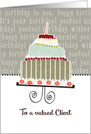 To a valued Client, Happy Birthday card, Cake & Candle card