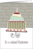 to a valued customer, business happy birthday card, cake & candle card