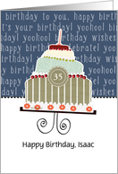 Happy birthday, Isaac, customizable birthday card, cake, card