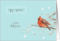 Merry Christmas to my half sister, red cardinal, watercolor card