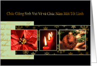 Merry Christmas in Vietnamese, poinsettia, ornament, candles card