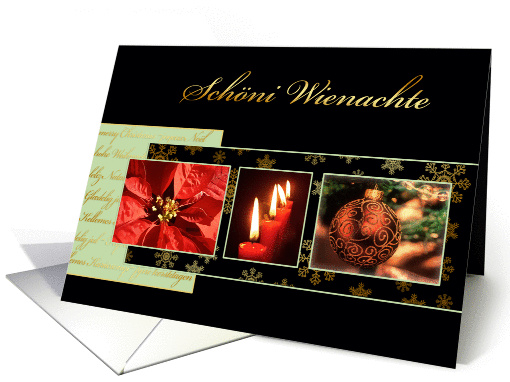 Merry Christmas in Swiss German, poinsettia, ornament, candles card