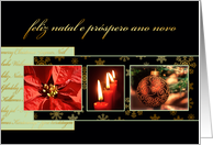 Merry Christmas in Portuguese, poinsettia, ornament, candles card