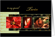 Merry Christmas to my twin, poinsettia, ornament, gold effect card