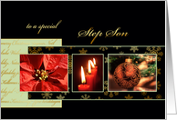 Merry Christmas to my step son, poinsettia, ornament, gold effect card