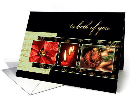 Merry Christmas to both of you, poinsettia, gold effect card (982713)