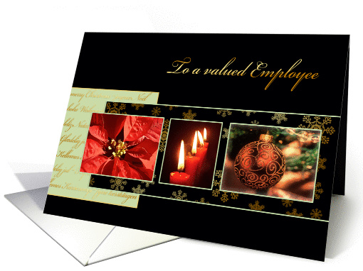 Merry Christmas to a valued employee, business card, gold effect card