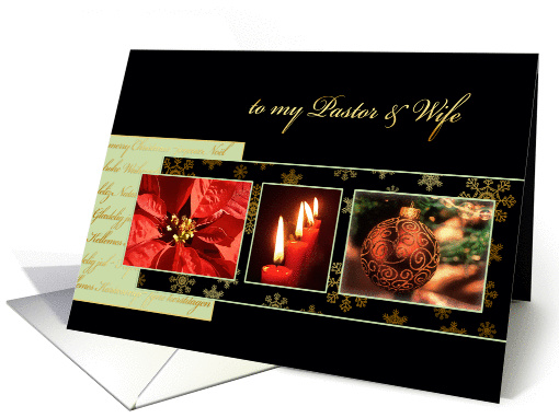 to my Pastor & wife, Christian Christmas card, gold... (983969)
