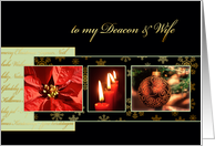 to my deacon & wife, Christmas card, gold effect, poinsettia, luke 2 card