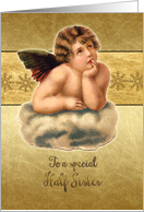Merry Christmas to my half sister, vintage cherub, gold effect card