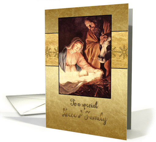 Merry Christmas to my niece & family, nativity, gold effect card