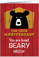 Anniversary on Valentine's Day, Valentine Bear Wishes on Red Wood card