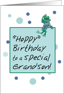 Happy Birthday Grandson with Bubbles and Frog wearing Jeans card
