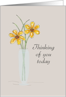 Thinking of You with Yellow Flowers in a Vase, Illustration card