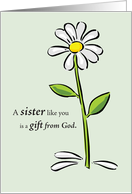 Happy Birthday for Sister with Daisy Flower, Religious card