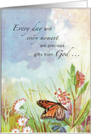 Religious Encouragement with Butterfly and Flowers card
