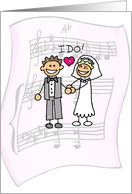 Thank You for Wedding Music, DJ, Bride and Groom Stick Figures card