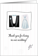 Thank You for being in our Wedding! Bridal Gown and Tuxedo card