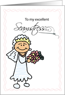Thank You for Wedding Seamstress with Bride & Roses, Stick Figures card
