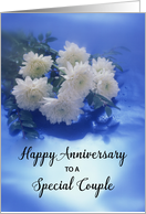 For Couple Wedding Anniversary, White Flowers on Blue card