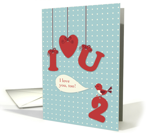 Miss You & I Love You Too with Hanging Symbols and Bird card (1028139)