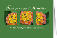 Thank You Minister, Memorial Funeral Service, Flowers on Green card