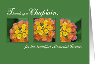 Thank You Chaplain, Memorial Funeral Service, Flowers on Green card