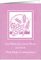 Great Niece First Communion Congratulations, Wheat & Grapes on Pink card