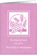 Sister First Communion Card, Pink card