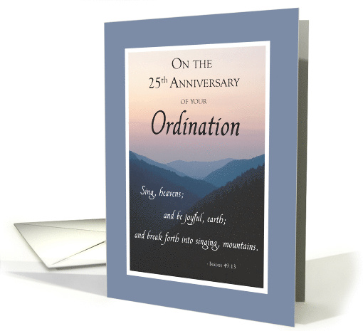 25th Anniversary of Ordination Congratulations with Mountains card