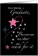 Girl, Young Woman, Graduation Star Congratulations, Pink, Black card