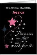 Customize Girl, Graduation Star Personalize Congratulations, Jessica card